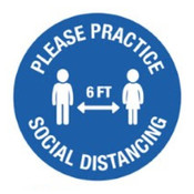 "Blue Practice Social Distancing Wall Decals 12"" circle"