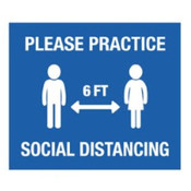 "Blue Practice Social Distancing Wall Decals 12"" circle or 12"" x 14"" rectangle"